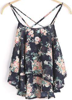 veste en mousseline à motif floral sans bretelles -Noir  EUR€11.53