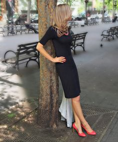 Black dress and pumps with a pop of color