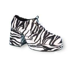 Adult Platform Zebra Costume Shoes, Men's, Size: 12-13, Black