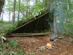 Camping in a bushcraft shelter