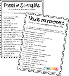 Parent Teacher Conferences: List of possible strengths and areas for improvement for conferences, good referral when jotting up notes for each student. Teacher Organization, Teacher Tools, Teacher Hacks, Teacher Resources, Preschool Teacher Tips, Resource Teacher, Preschool Ideas, Parent Teacher Conference Forms, Parent Teacher Communication