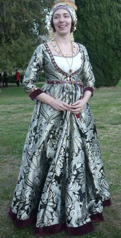 Serbian gown front. Photo taken by Robyn Boyer. This gown was intended as something super fancy to wear with a flinderhaube, but had to be constructed in as little time as possible