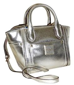 ac3469b8629a Valerie Small Satchel Champagne  Metallic Silver Gold Crosshatch Saffiano  Leather Tote