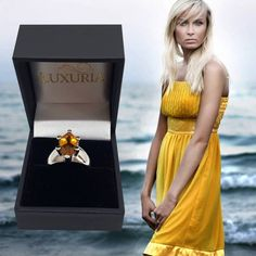 A gemstone ring for us bigger girls. A large marquise shape yellow color citrine gem set in a chunky 925 silver band is best suited to larger fingers. Citrine Ring, Citrine Gemstone, Gemstone Engagement Rings, Gemstone Rings, Marquise Cut, Prong Set, Solitaire Ring, Every Girl, Semi Precious Gemstones