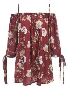 2d5217ea3ea Plus Size Spaghetti Strap Floral Print Blouse - Brick-red Xl