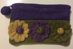 Rising Tide Coin Purse or Small Cosmetic Bag Wool Blend Purple Green | eBay