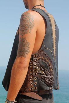 Burning Man Necklace Leather Fringe Fringed Cuero Couro Colar Tribal Native Dance Jungle Sexy