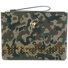 Giuseppe Zanotti Design Camouflage Clutch ($845) ❤ liked on Polyvore featuring bags, handbags, clutches, camouflage purses, leather clutches, leather handbags, colorful clutches and colorful purses