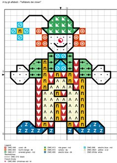 alfabeto dei clown A Alphabet And Numbers, Alphabet Letters, Number Patterns, Cross Stitch Alphabet, Letter I, Clowns, Tree Branches, Art Pieces, Abcs