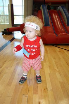 A toddler dressed as Richard Simmons for Halloween. Hilarious!