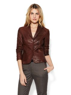 Leather Two Button Jacket