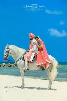 Sonia & Manny Did It in Mexico | Cosmin Danila Photography - I See Beautiful People PUnjabi wedding horse bride groom viyaah punjabi lehnga