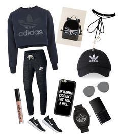 """Morning Outlook ♡"" by ayeshaghori ❤ liked on Polyvore featuring adidas, NIKE, Francesca's, Gentle Monster, NARS Cosmetics, NYX and WithChic"