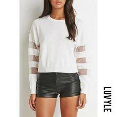 #Luvyle - #Luvyle Round Neck Mesh Patchwork Long Sleeve T-Shirts - AdoreWe.com