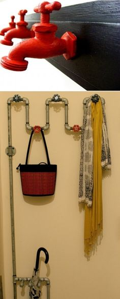 DIY wall hooks made from faucets