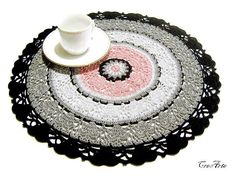 Colorful crochet doily, Black, Grey and Pink doily