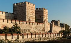 Photo about City walls of Istanbul after partial restoration. Image of city, historical, byzantine - 32814114 Fall Of Constantinople, Fantasy Art Landscapes, Banner, Byzantine Art, Fortification, Ancient Rome, Ancient Art, Roman Empire, Art And Architecture