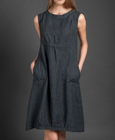 Linen women dress Pure linen dress Dark grey dress by LinenStory