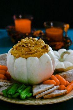 10 Tasty Pumpkin Appetizers! Pumpkin hummus, pumpkin potato salad...