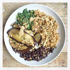 Roasted Aubergine and Tahini Bowl | Deliciously Ella