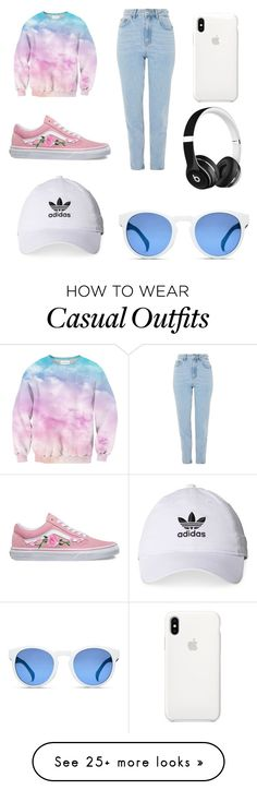 """Casual Look"" by liahnoboag on Polyvore featuring Topshop, Vans, adidas, Beats by Dr. Dre and Apple"