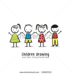 children over white background, drawing. vector