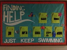 Finding Help, a Finding Nemo themed academic bulletin board