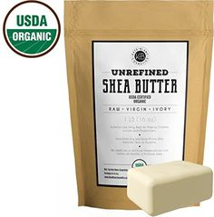 Raw Shea Butter 1 LB USDA Certified Organic Unrefined Natural Creamy African Butter Fair Trade Lotions Soap Conditioner Eczema  Stretch Marks Products Hand Cream Body Lip Balm 1 LB >>> For more information, visit image link.