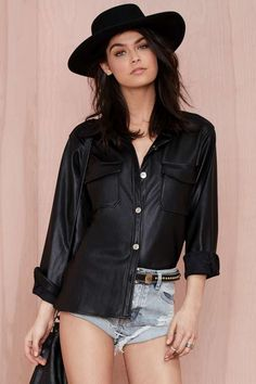 Won't Back Down Vegan Leather Shirt | Shop What's New at Nasty Gal