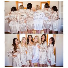 Custom embroidered robes for the Bride and Bridesmaids.  Buy now at www.weddingprepgals.com and make sure getting ready looks as good as these girls.