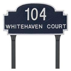 Montague Metal Chesterfield 2-Line Standard Address Sign Lawn Plaque - PCS-0143S2-L-WB