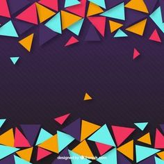 Purple background of colorful triangles Free Vector Geometric Background, Vector Background, 90s Design, Graphic Design, Neon Licht, Free Collage, Background Powerpoint, Purple Backgrounds, Note Paper