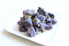Purple Potato Salad. We made this last night and OMG Amazzing!!! Never even knew that there was such a thing as a purple potato! These and sweet potatoes are a much better option!