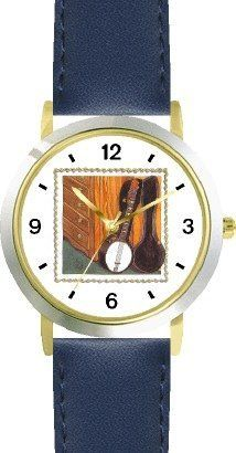 Banjo in Open Case Leaning against Bureau or Dresser - from Hush Little Baby by Artist: Sylvia Long - WATCHBUDDY® DELUXE TWO-TONE THEME WATCH - Arabic Numbers - Blue Leather Strap-Size-Children's Size-Small ( Boy's Size & Girl's Size ) WatchBuddy. $49.95. Save 38% Off!