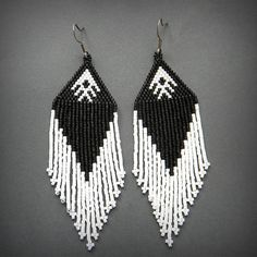Black and White beaded earrings beaded jewelry by Anabel27shop