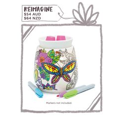 Scentsy warmer that you can colour in?? Seriously amazing. add your own touch to your scents. Takes adult colouring to a new level!