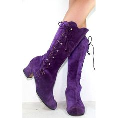 Vintage high heel suede purple mid calf tall slouch womens tano Spain... ❤ liked on Polyvore featuring shoes, boots, tall lace up boots, knee high lace up boots, leather lace up boots, leather boots and suede knee high heel boots