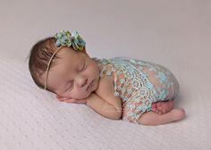 Abrigo de encaje Aqua con juego lazo detrás, abrigo y diadema conjunto, prop foto recién nacido, bebé niña apoyo, abrigo de encaje, venda del bebé