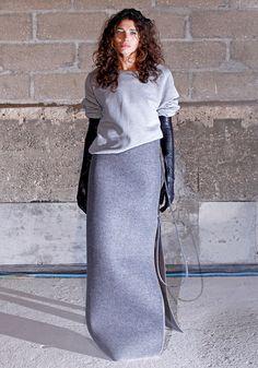 sweatshirts + column skirts