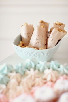 Ready to Pop caramel popcorn. so cute for a baby shower.