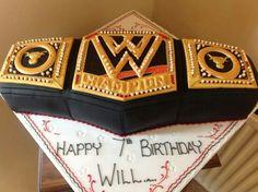 WWE Wrestling Belt by Complete Cake Craft Wwe Birthday, Harry Birthday, Happy 7th Birthday, Mario Birthday Party, Kids Birthday Themes, 9th Birthday Parties, Brother Birthday, Wrestling Cake, Wrestling Party