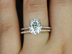 Rosados Box Blake Rose Gold Oval FB Moissanite and Diamonds Cathedral Wedding Set