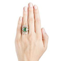 Edwardian Emerald Cocktail Engagement Navette Ring