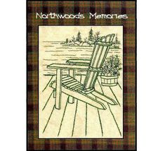 Northwoods Memories Adirondack chair  - Redwork Hand Embroidery Pattern by Beth Ritter - Instant Digital Download via Etsy