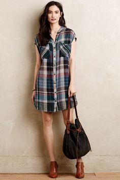 Mixed Plaid Tunic - anthropologie.com   Oh Anthro, your photo just doesn't do the colors justice! Love this - check out all the photos for how-to-wear ideas!