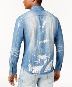 Sean John Men's Denim Shirt, Created for Macy's - Red 4XL