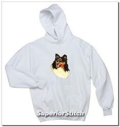 Shetland Sheepdog Sheltie Hooded Sweatshirt - Embroidered Full Front