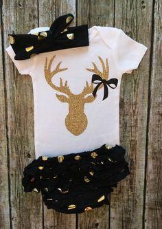 Deer Antler Baby Girl Onesie - BellaPiccoli