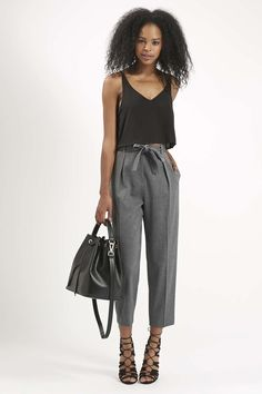 Flannel Belted Peg Trousers - Trousers & Leggings - Clothing - Topshop Singapore