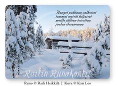 Talvipäivän raikkauden, puhtauden ja rauhan voi aistia tästä joulukortista - ja lähettää sitä kauniin Railin runon kera. Railin Runokortti -sarjan joulukortti, jonka taustapuolella on Hyvää Joulua ja Onnellista Uutta Vuotta -toivotus. Tukevaa, suomalaista kartonkia ja pyöristetyt kulmat. Avainlippu-tuote. Kuvassa vanha turvelato sydäntalven pakkaspäivänä Seitsemisen kansallispuistossa. Runo: Raili Heikkilä, kuva: Kari Leo